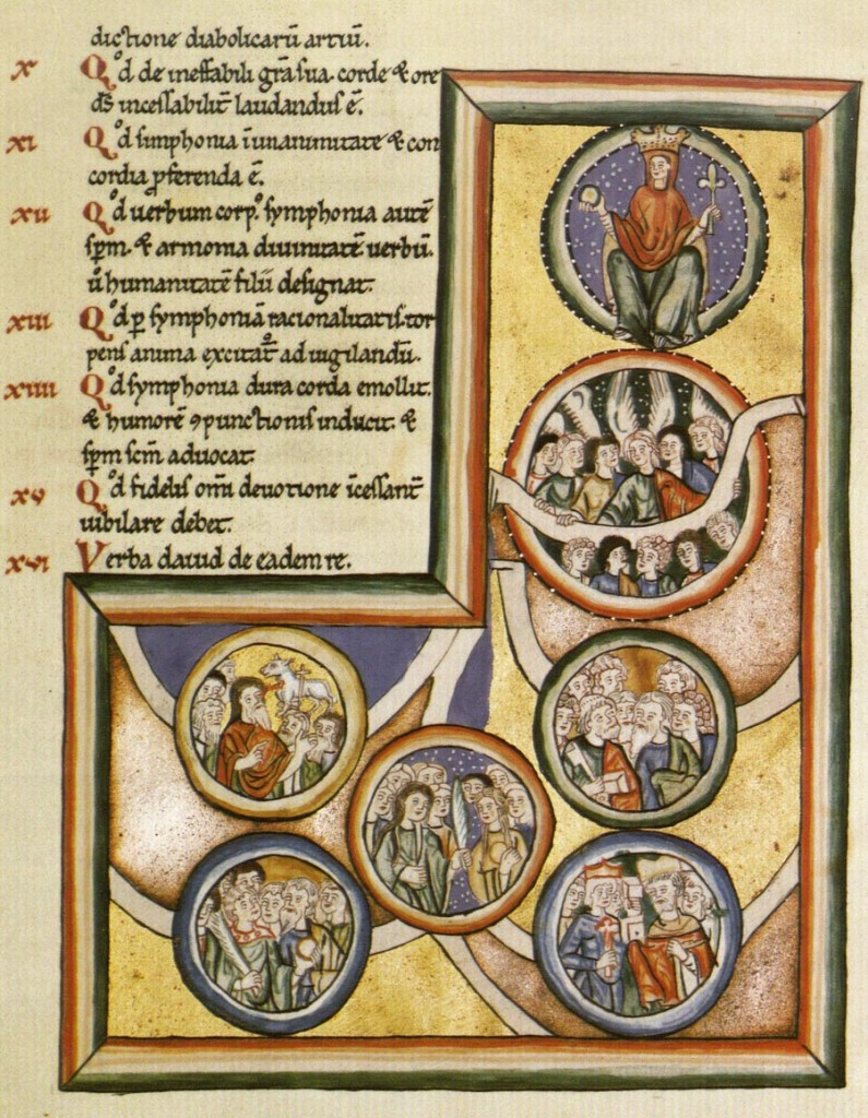 An illuminated page from Hildegard's Scivias
