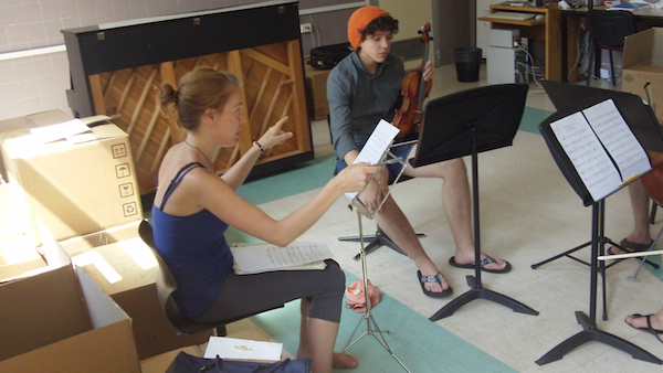 Rachel rehearses her string trio with Felipe (pictured), Molly and David.