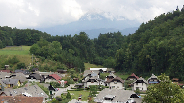 The town of Kamna Gorica in northern Slovenia (note the snow-capped mountains in the background)