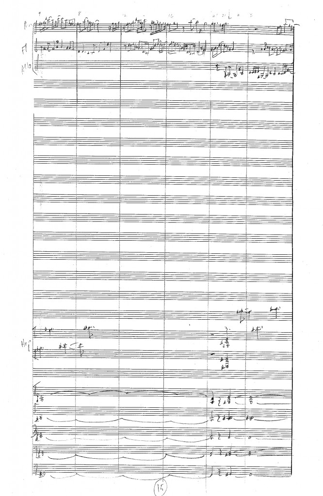 A page from the score, showing three flutes at the top and sustained strings at the bottom